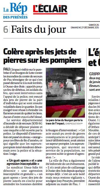 Pau - Pompiers caillassés 20_12_15