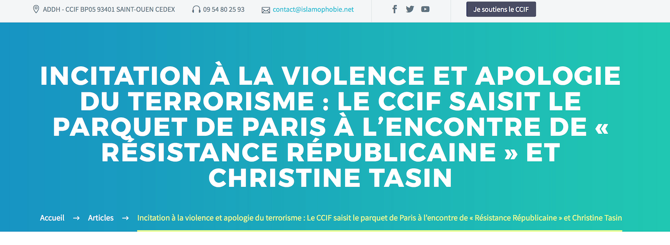 Attentat de Londres : le CCIF attaque et menace Christine Tasin