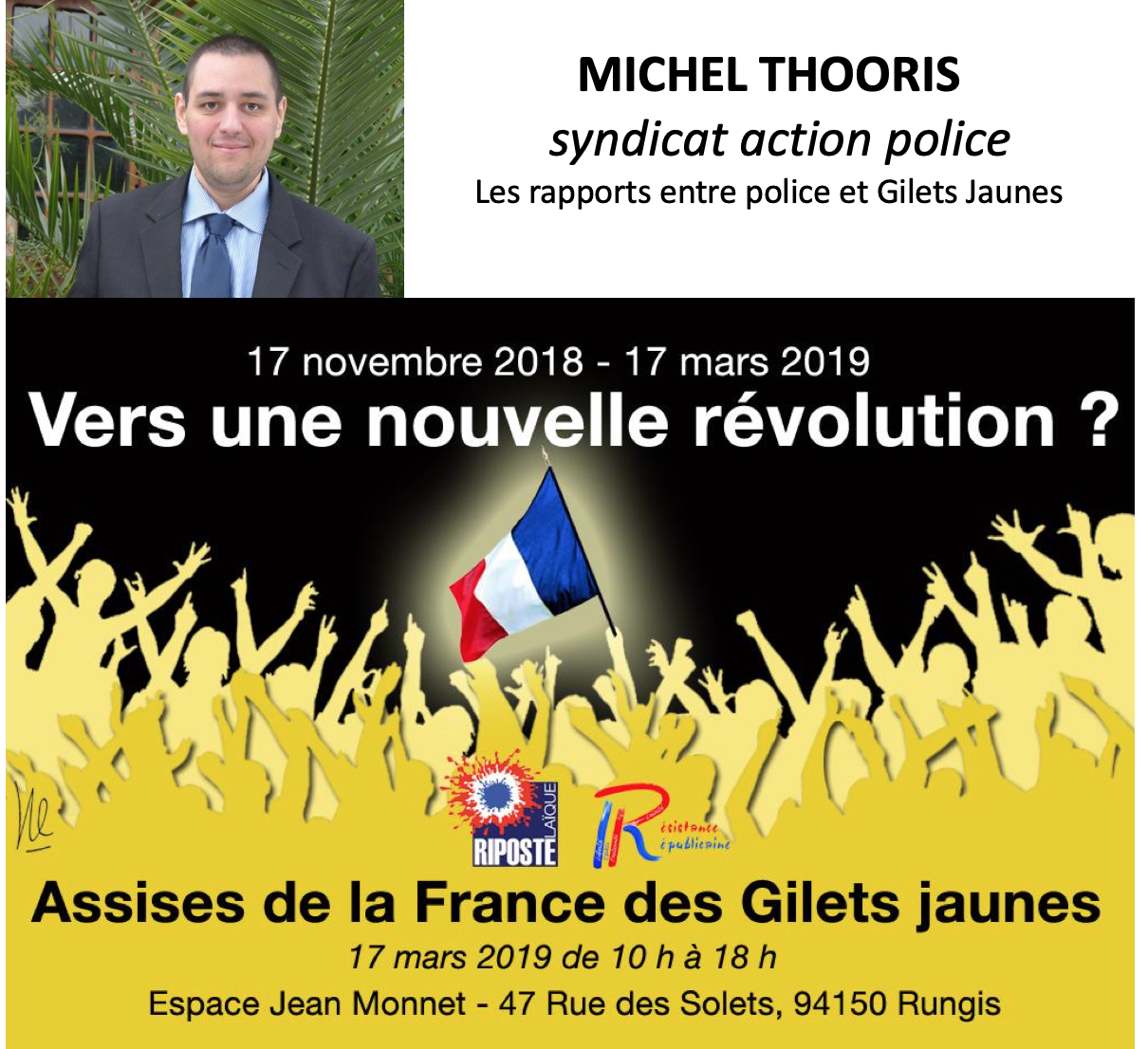 Michel Thooris, du syndicat Action Police, interviendra aux Assises de la France des Gilets Jaunes