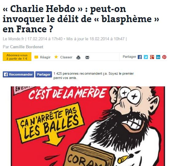 Avec la CEDH, Voltaire, Rushdie, Asia Bibi et Charlie Hebdo seraient condamnés