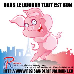 RR autocollant porc