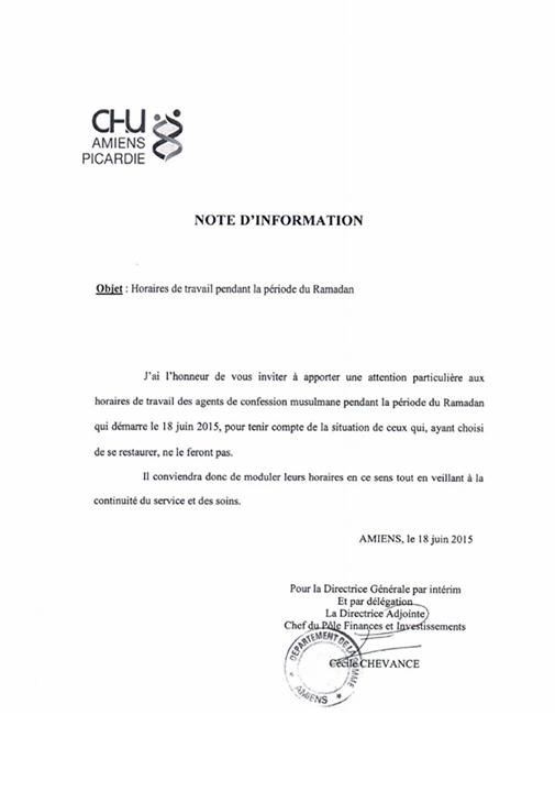 Résistance : protestez contre l'hôpital d'Amiens qui offre des horaires adaptés aux salariés musulmans