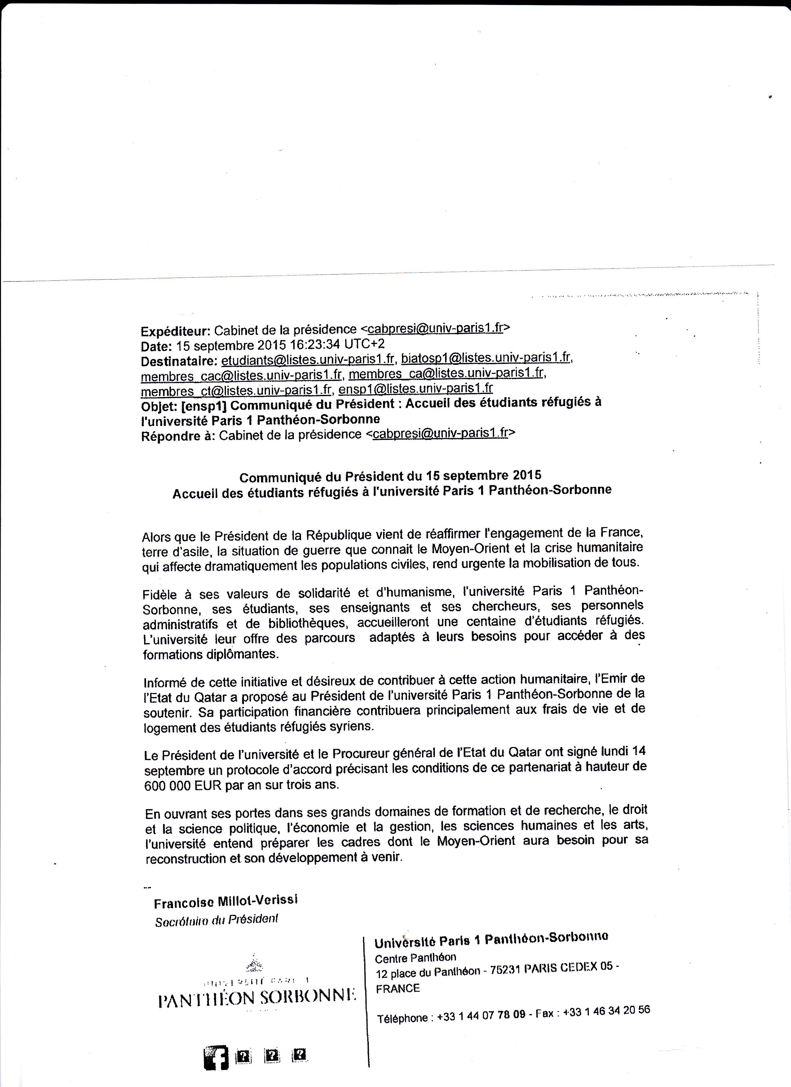 Agissez contre l'accueil de 100 étudiants clandestins financés par le Qatar à la Sorbonne