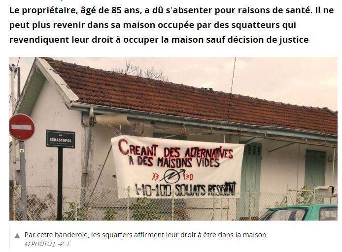 Bègles : encore une maison squattée interdite à son propriétaire de 85 ans !