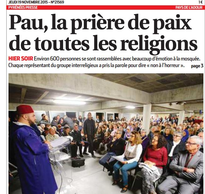 A Pau, prière oecuménique à la mosquée, avec adjointe du maire et députés !