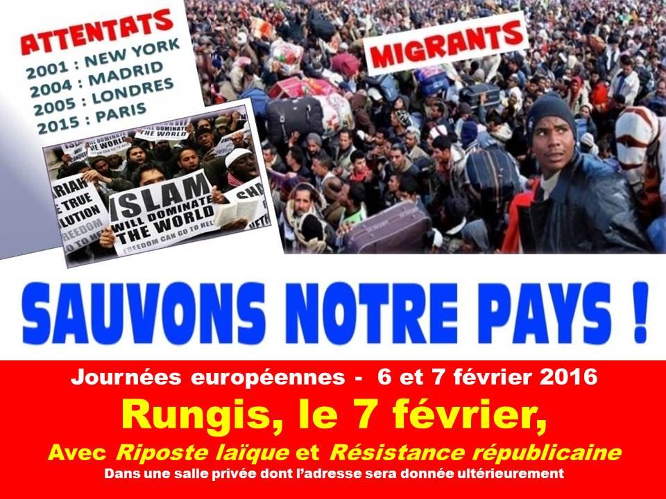 Le 7 février, tous à Rungis pour sauver notre pays de l'islam et de l'invasion migratoire