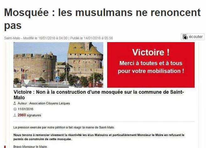 Comment une mystérieuse association laïque malouine a nui à une juste cause, le refus des mosquées