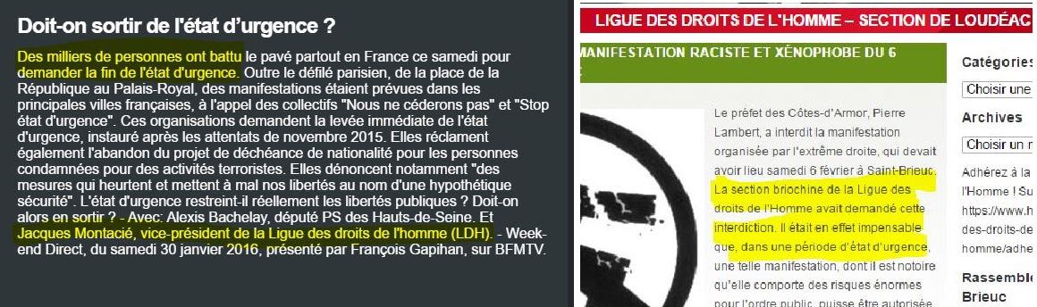 Saint-Brieuc, Etat d'urgence et manifs : la LDH ne manque pas d'air !