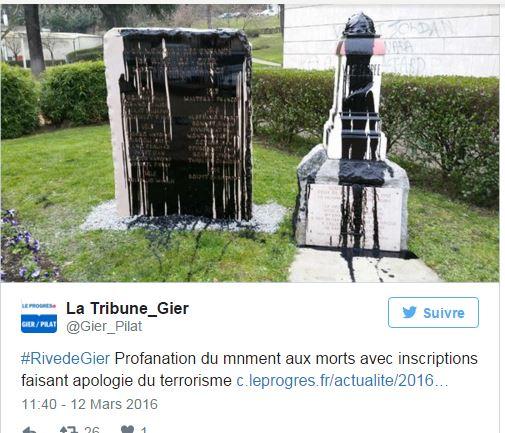 Un monument aux morts profané au nom de «Daesh»