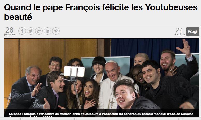 Le pape ose : «Prêcher la beauté et montrer la beauté aident à neutraliser l'agression»