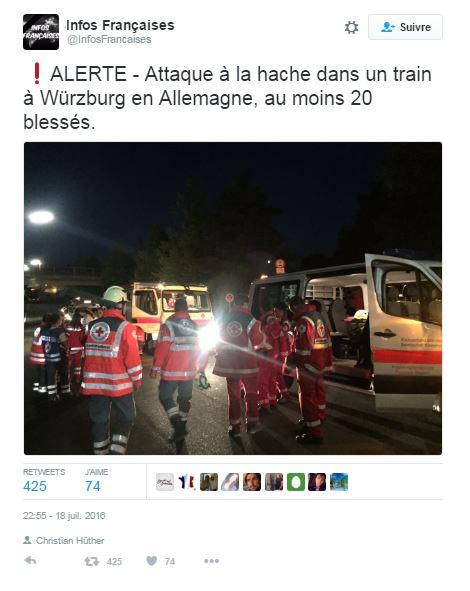 Attaque musulmane à la hache dans un train : l'auteur est un demandeur d'asile !