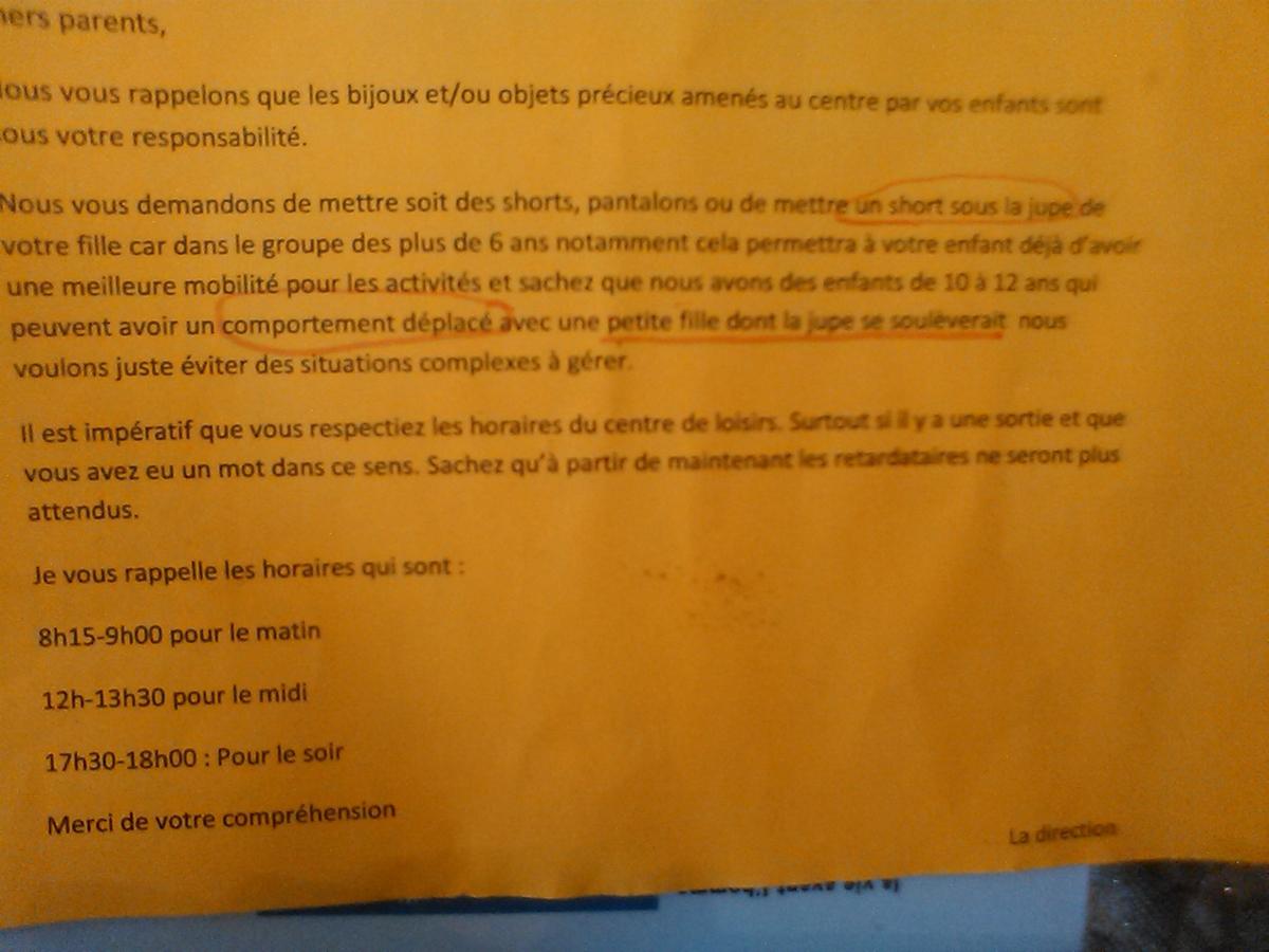 Lettre à la Directrice du centre aéré qui veut faire mettre des shorts de précaution aux gamines de 4 ans