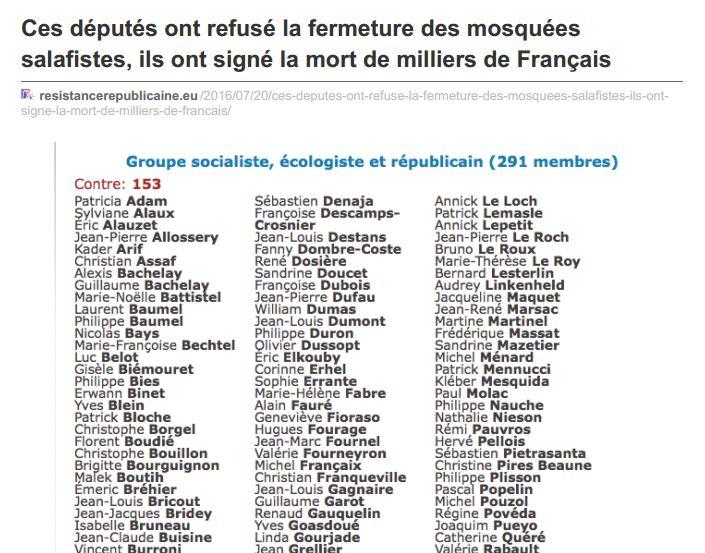 Décapitation : ressortons la liste des élus honteux qui ont rejeté la fermeture des mosquées salafistes