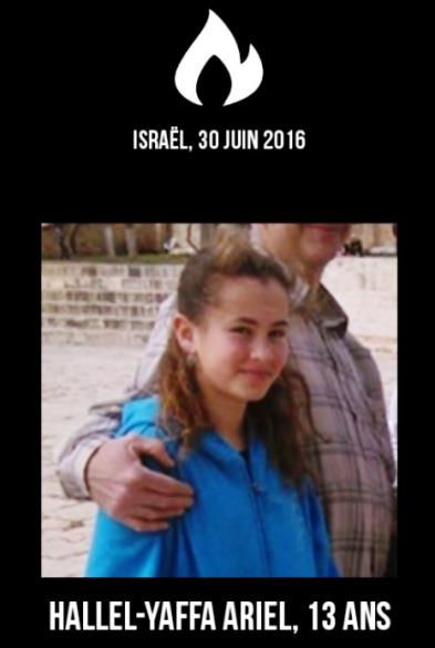 Hallel Yaffa Ariel a été tuée de 13 coups de couteau pour la faire souffrir et faire peur aux juifs