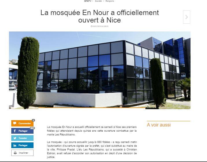 Nice : le Conseil d'Etat autorise la mosquée, le préfet l'impose malgré le recours de la Mairie