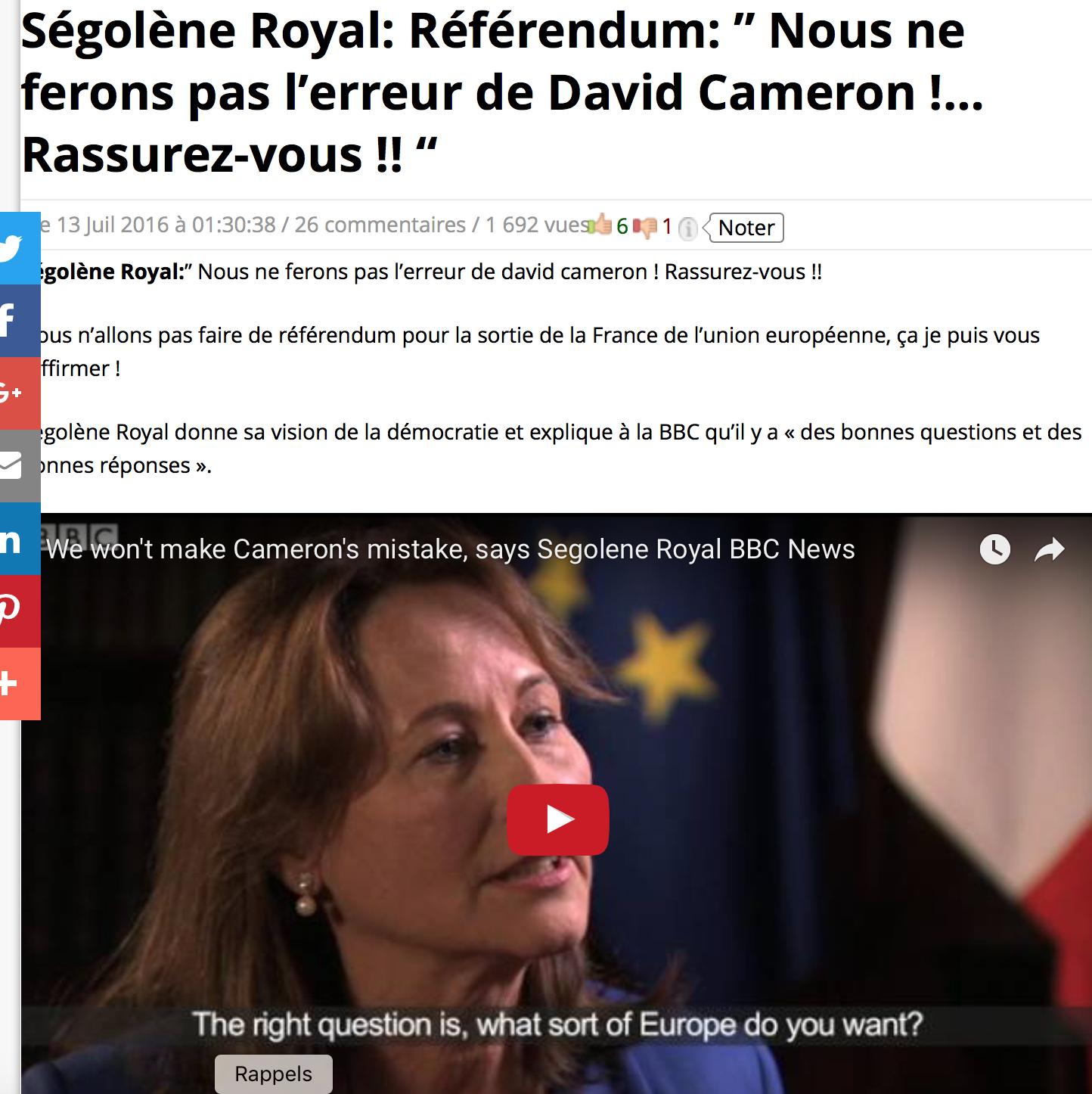 Ségolène Royal avoue : on n'est pas fous, il n'y aura jamais de referendum sur l'Europe