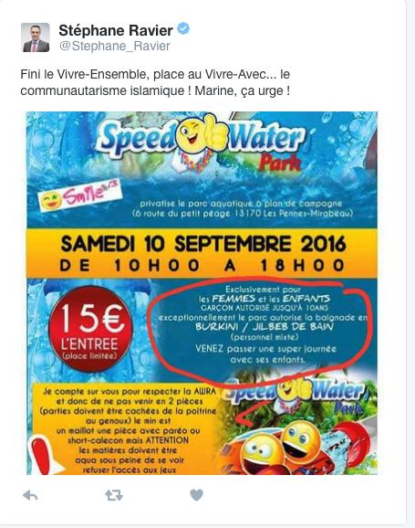 Speed Water réservé aux musulmanes le 10 septembre : mobilisation de tous les patriotes contre cette horreur