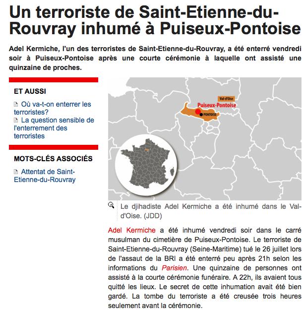 Un des assassins du père Hamel enterré à Puiseux-Pontoise : exigeons exhumation et incinération