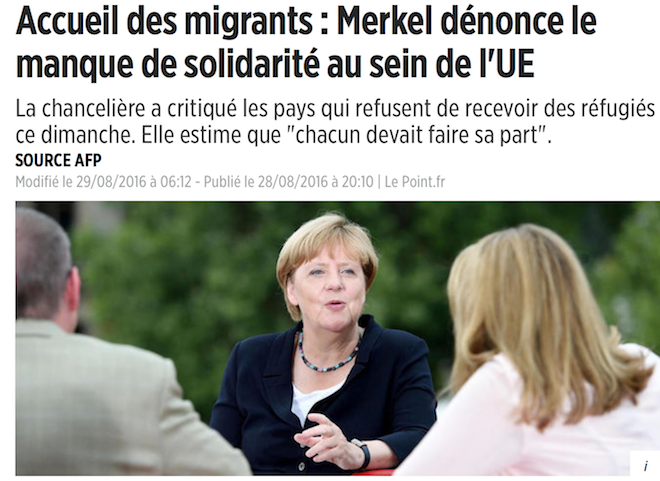 Maman Merkel s'indigne du refus de certains pays d'accueillir des CPLP (chances pour le pays )