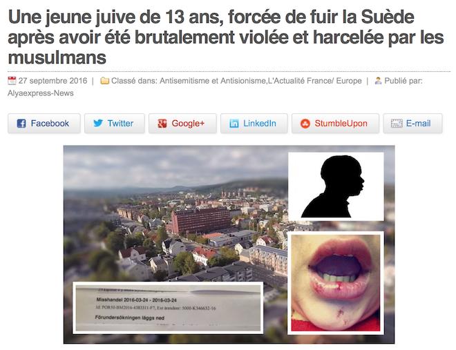 La famille d'une jeune juive de 12 ans violée par un Somalien obligée de fuir la Suède