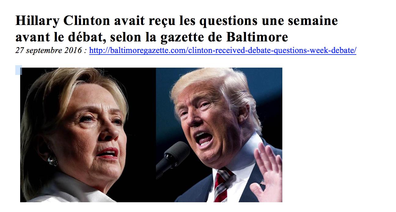 Hillary Clinton connaissait depuis une semaine les questions posées lors du débat