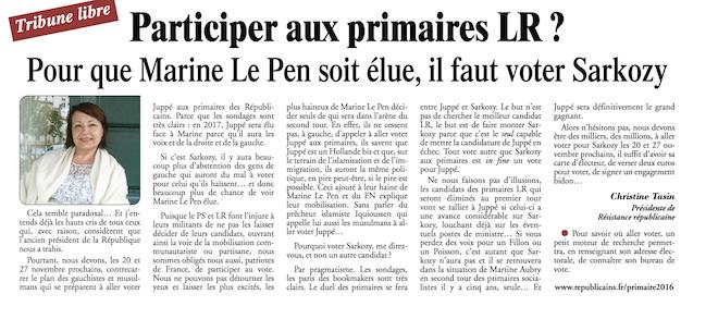 Pour éliminer Juppé, allons voter en masse pour Sarkozy aux primaires, afin que Marine gagne
