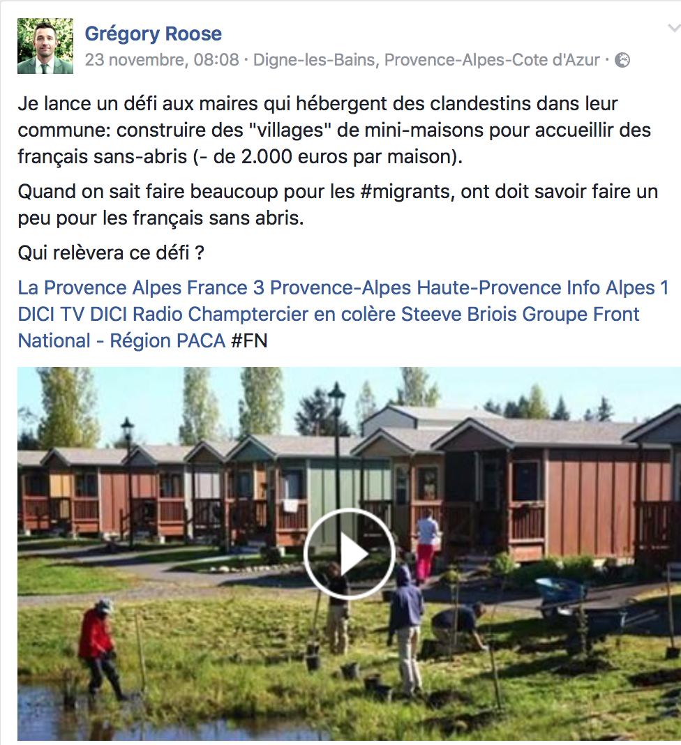 Proposition de Grégory Roose, du FN : hé, les maires, si vous construisiez des petites maisons pour nos SDF ?