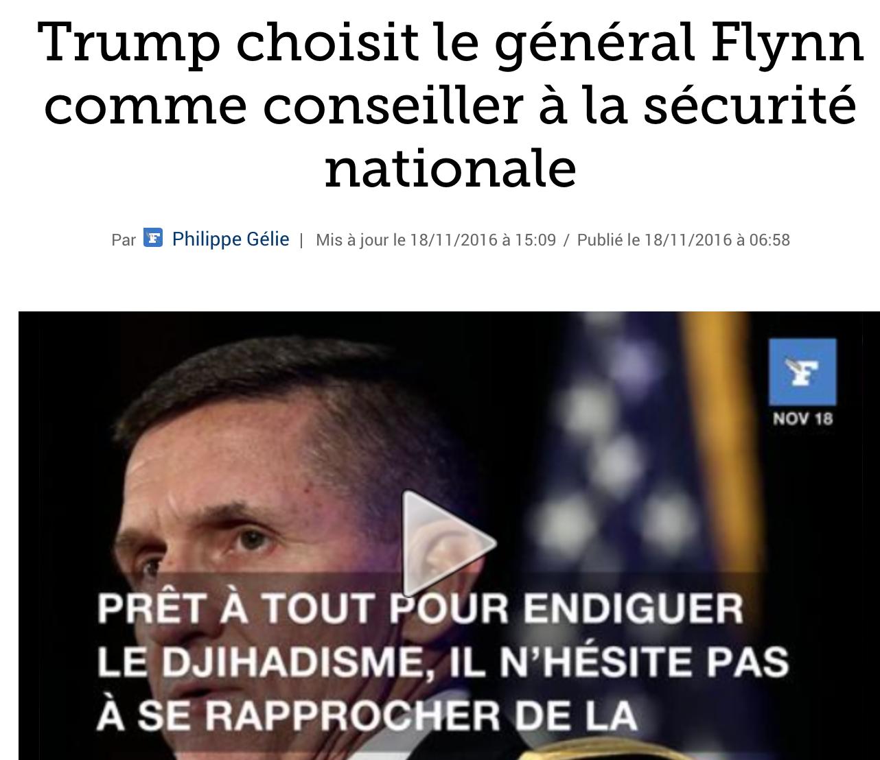 L'islamophobe Général Flynn, choisi par Trump, subit une campagne médiatique diffamatoire
