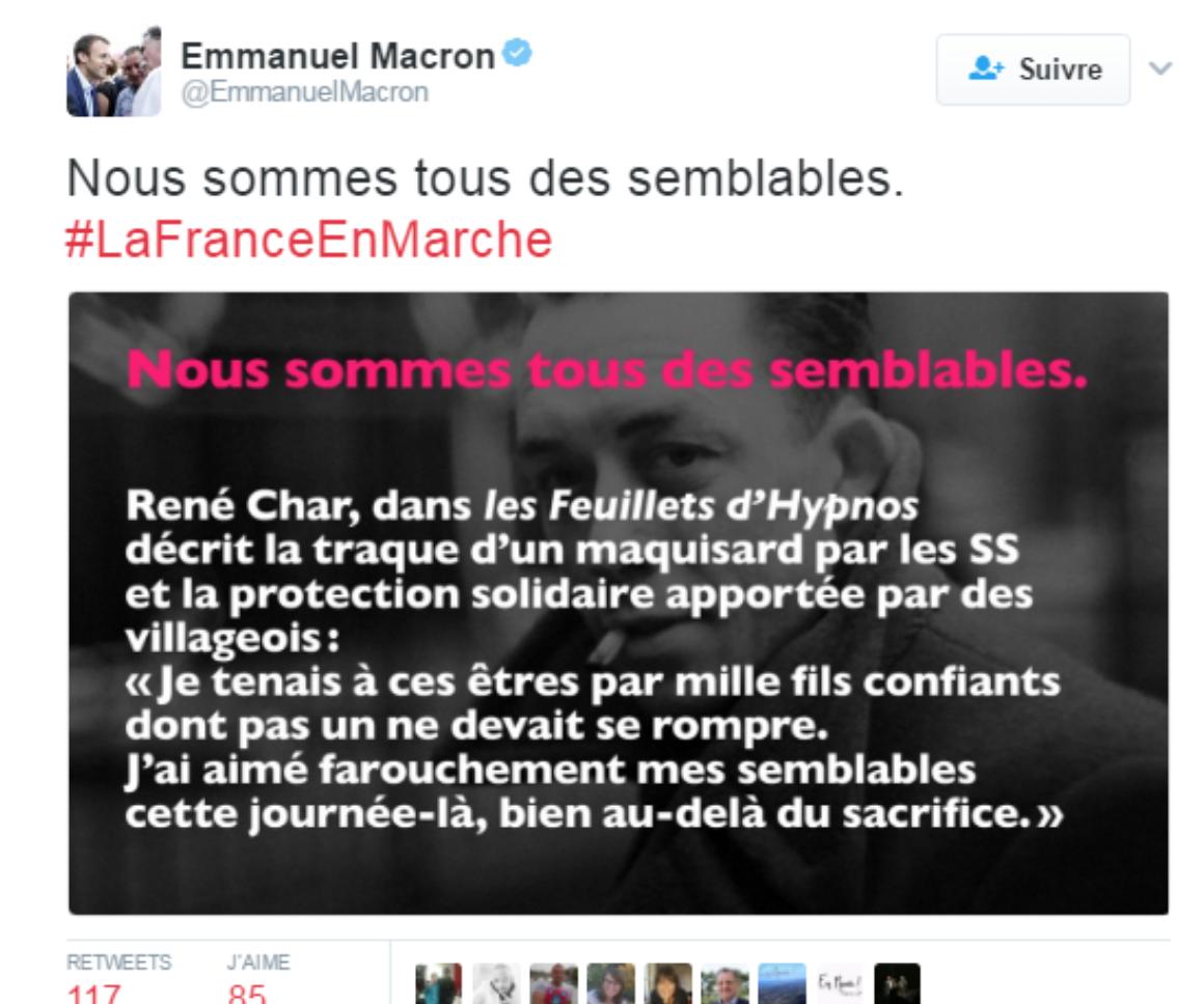 L'islamo-collabo Macron-con se revendique du Résistant René Char, qu'il confond avec Albert Camus !