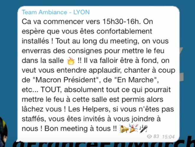 Macron l'imposteur trafique la «team ambiance» de ses meetings, comme il a trafiqué son clip de «en Marche»