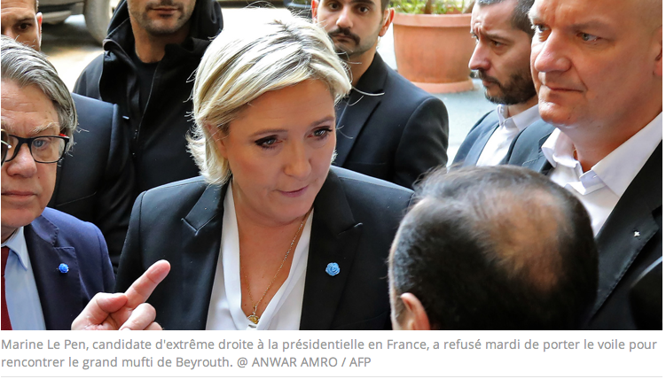 Marine Le Pen refuse de porter le voile pour rencontrer le grand mufti à Beyrouth