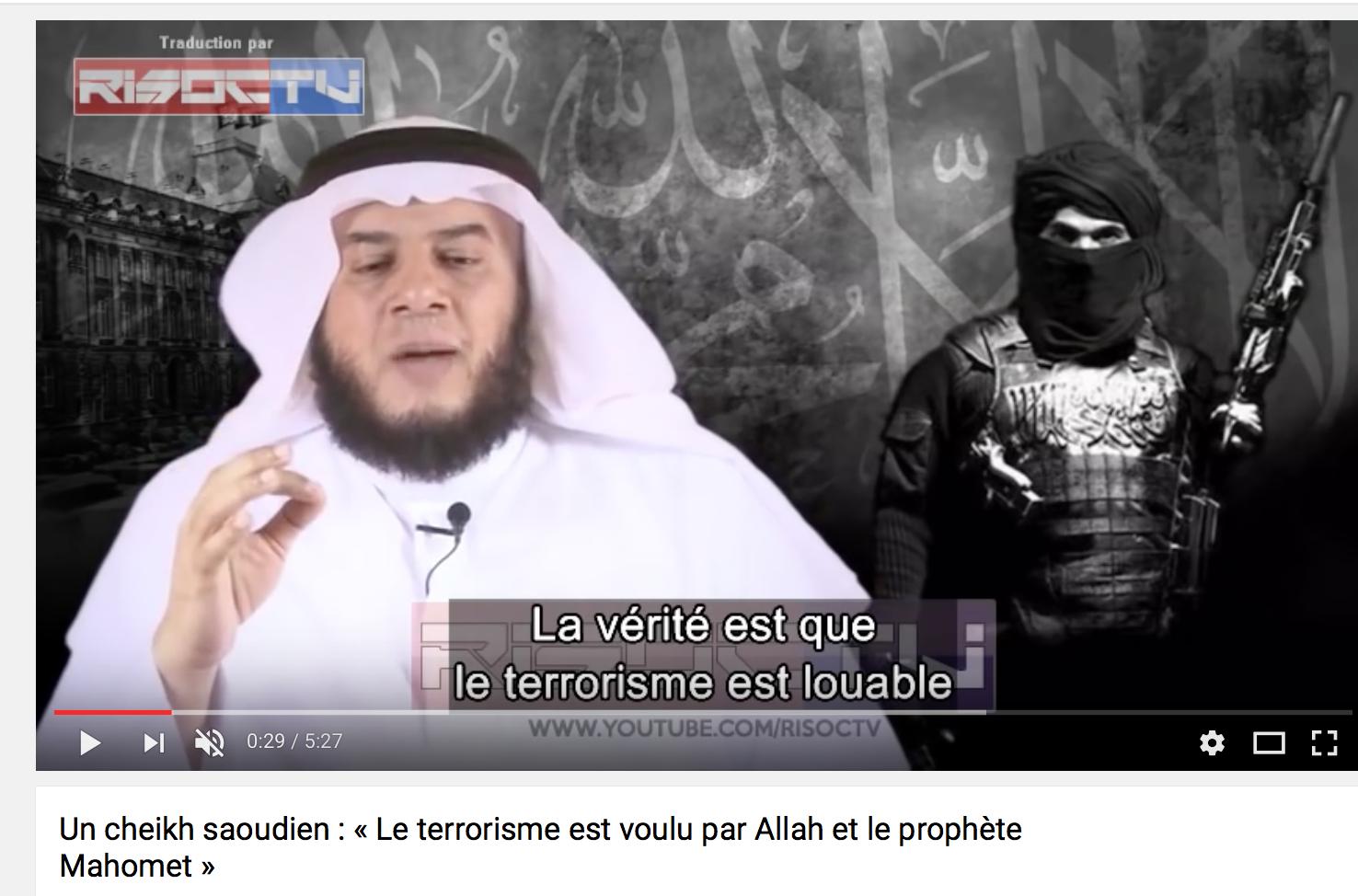 Un cheikh saoudien : « Le terrorisme est voulu par Allah et le prophète Mahomet »