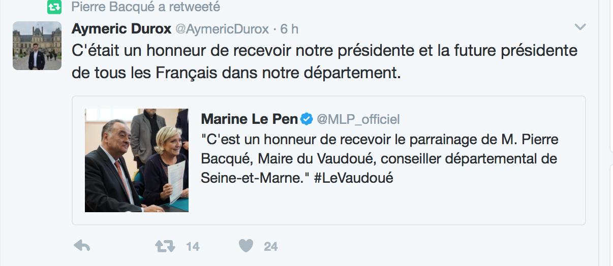Un maire LR sanctionné pour avoir donné son parrainage à Marine Le Pen