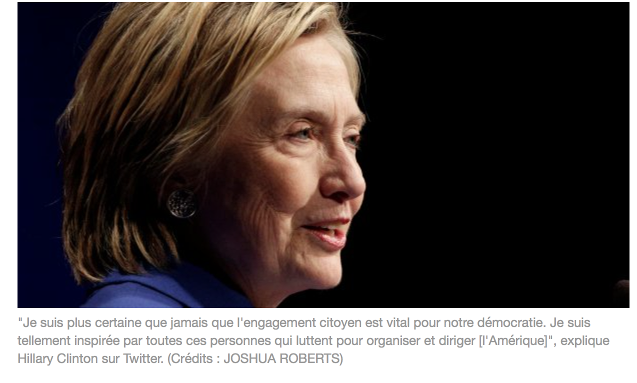 Folcoche Clinton copie Macron, elle lance « Onward together (en avant, ensemble) »