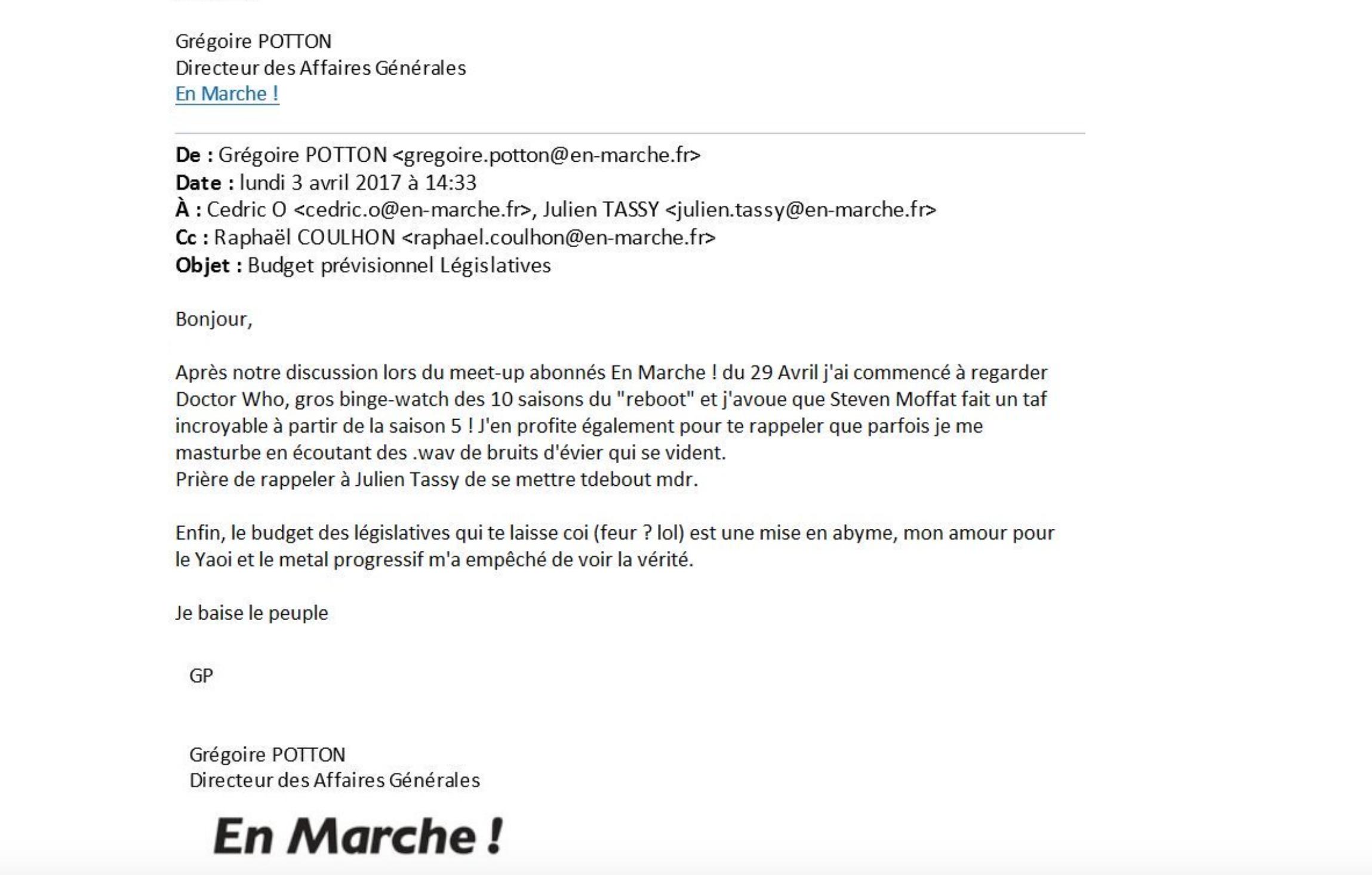 Grégoire Potton, directeur des Affaires Générales chez En Marche baise le peuple et s'en vante