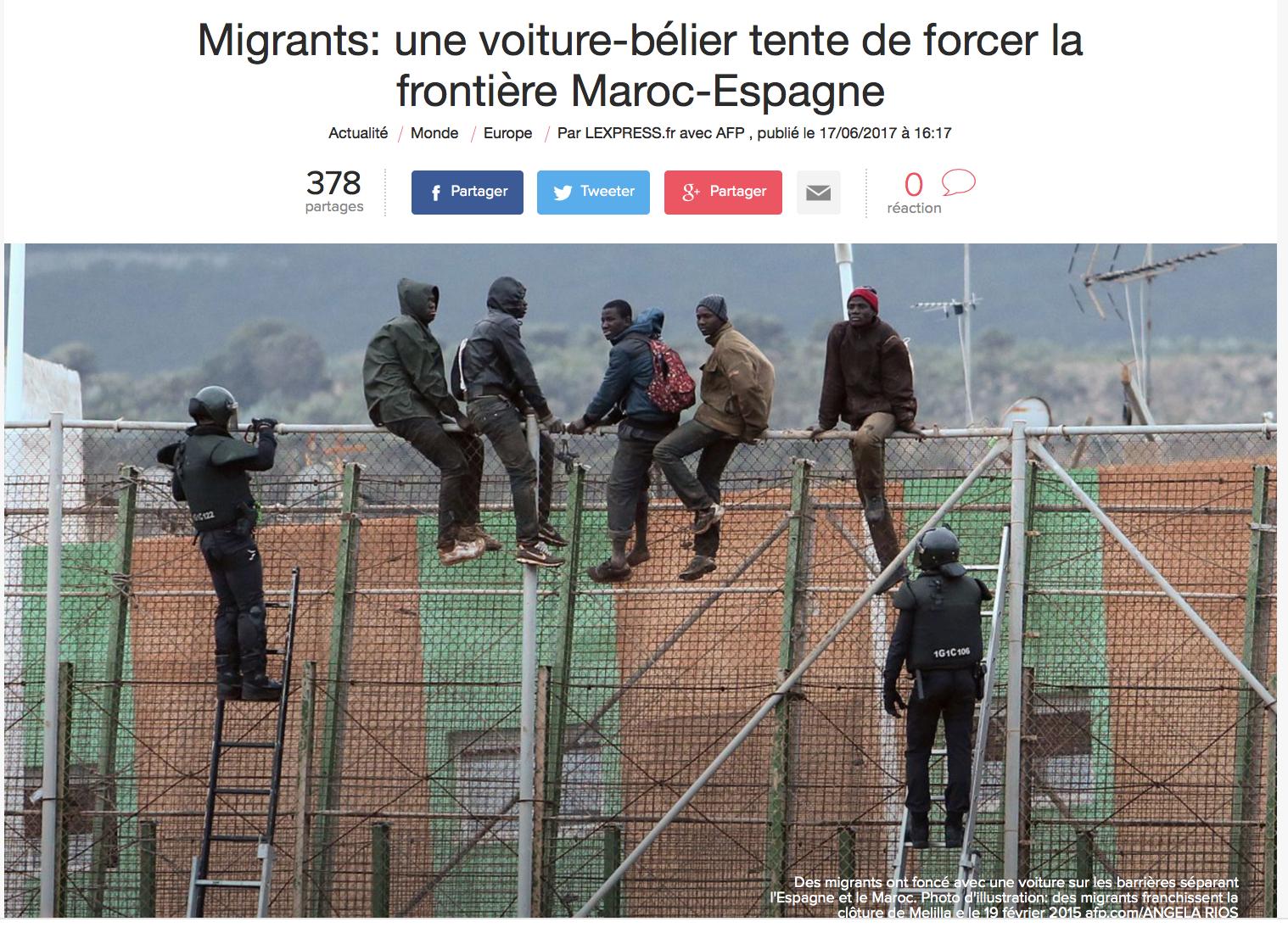 Les clandestins forcent la frontière à la voiture-bélier à présent !