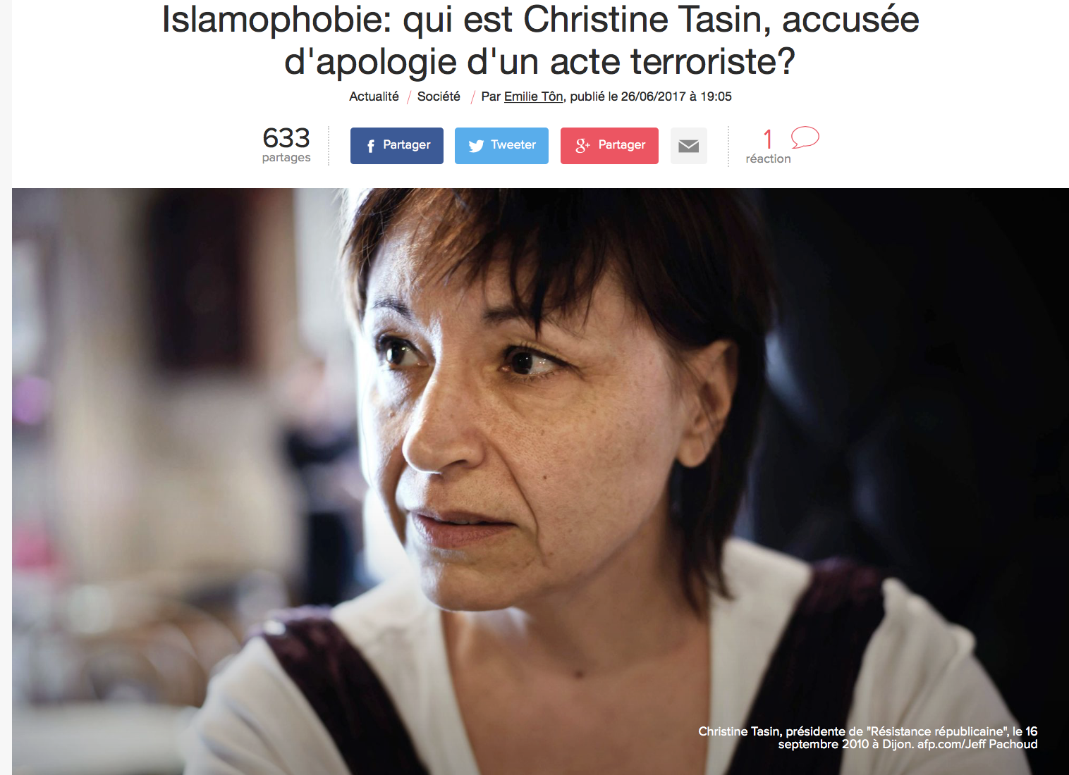 Qui est donc Emilie Tôn, journaleuse à l'Express, qui écrit un article à charge contre Christine Tasin ?