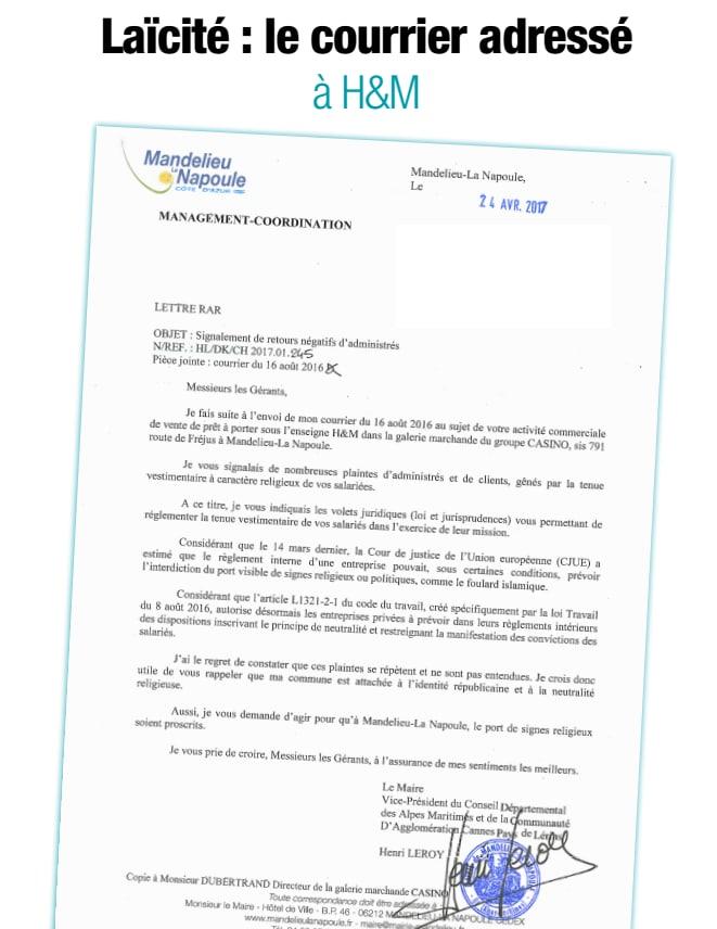 Aidez le maire de Mandelieu qui demande à H&M d'interdire le voile à ses employées