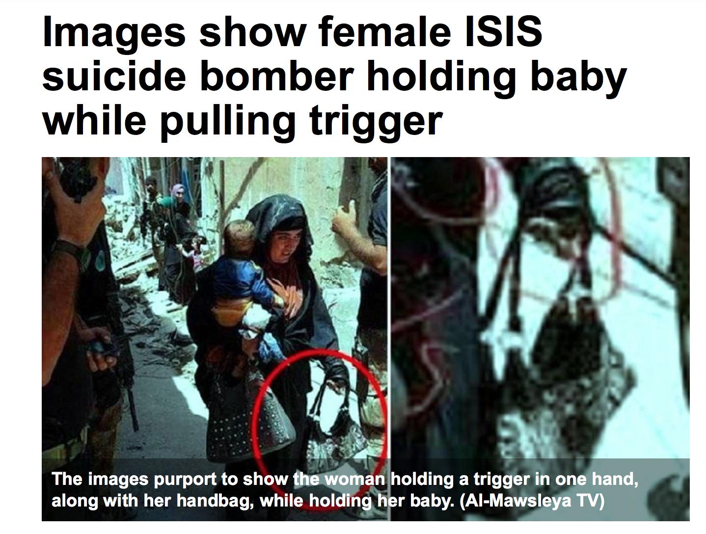 Irak : une islamiste se fait exploser avec un enfant dans les bras