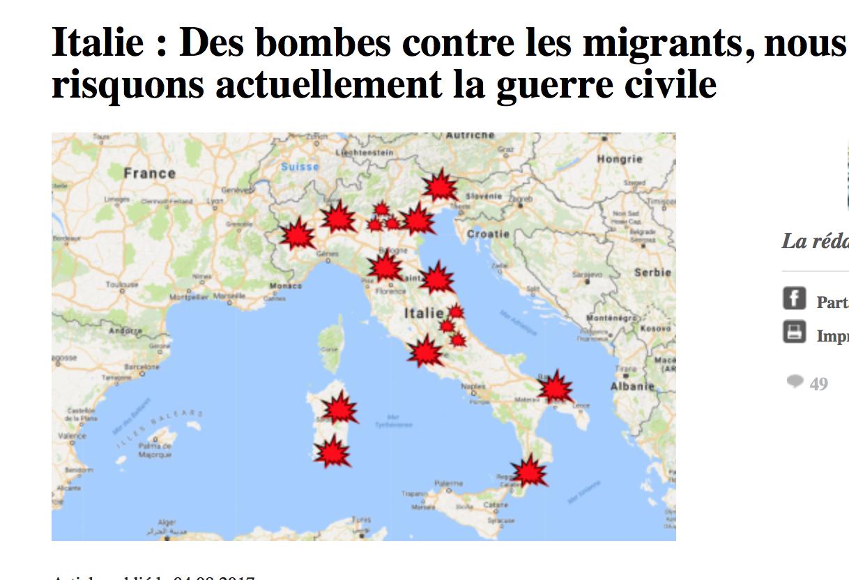 Les Italiens se rebiffent : bombes contre les migrants
