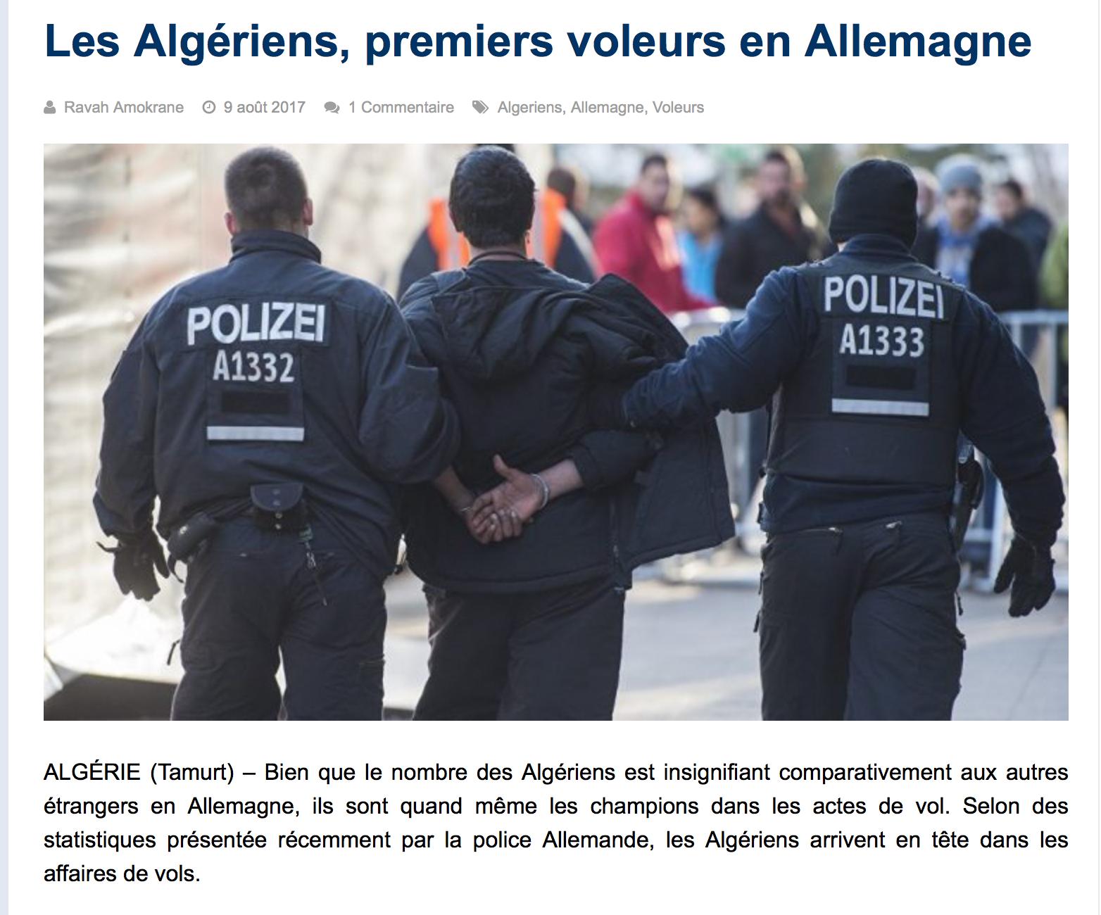 «Les Algériens leaders dans les affaires de vols et agressions en Allemagne» ?