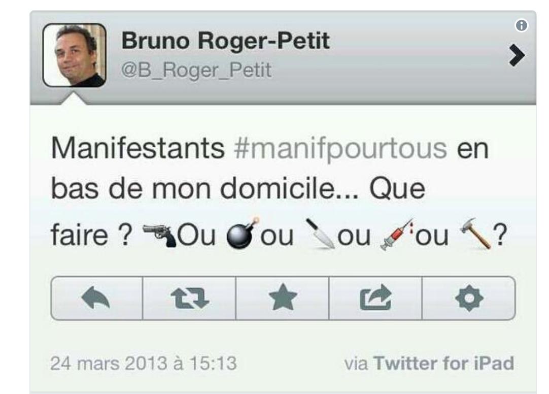 Bruno-Petit : les anti-mariage gay, on les dégomme au couteau, au marteau ou au revolver ?