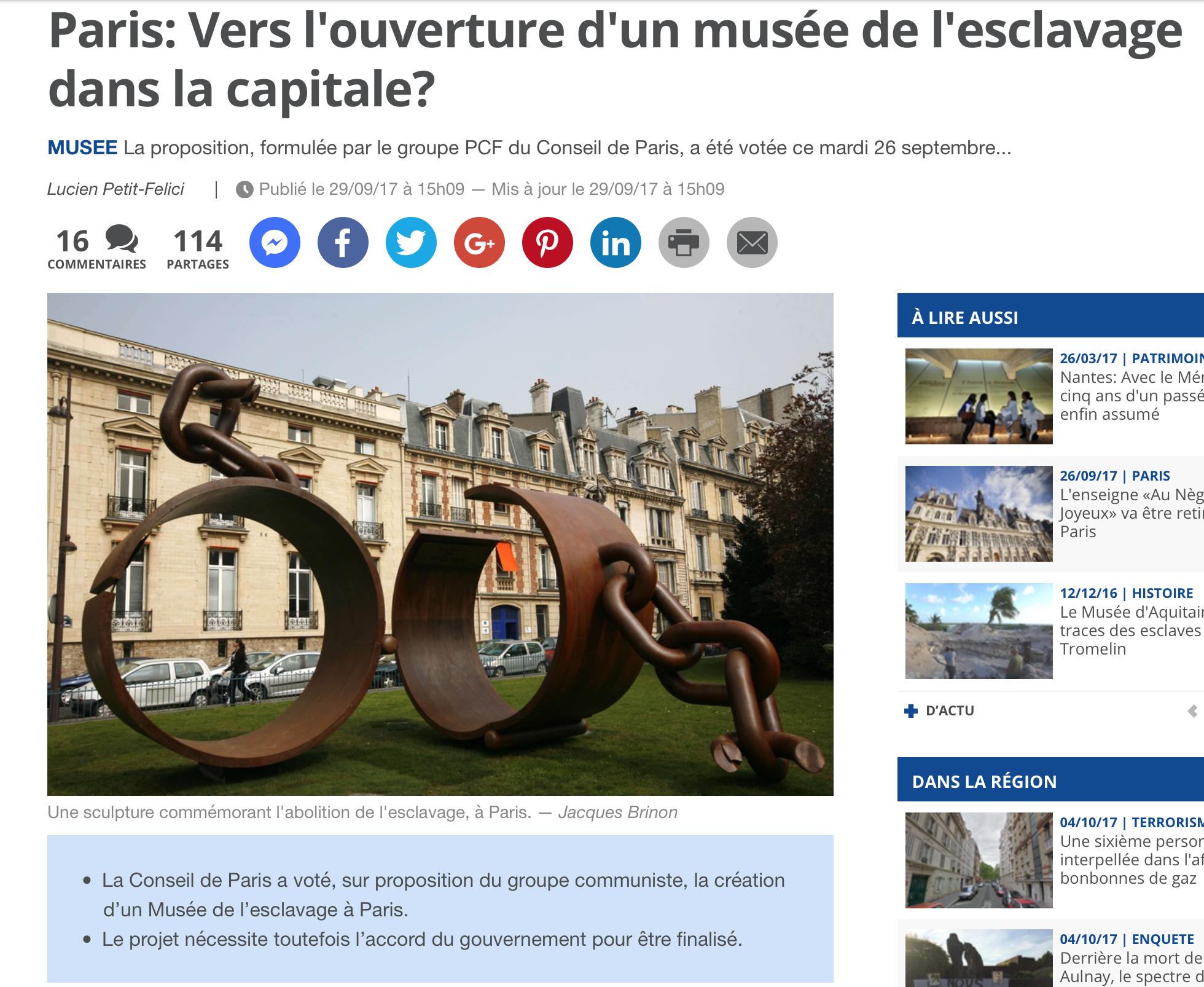 Paris : prochainement un Musée de l'esclavage sur l'immense terre plein vide de l'Institut du Monde Arabe