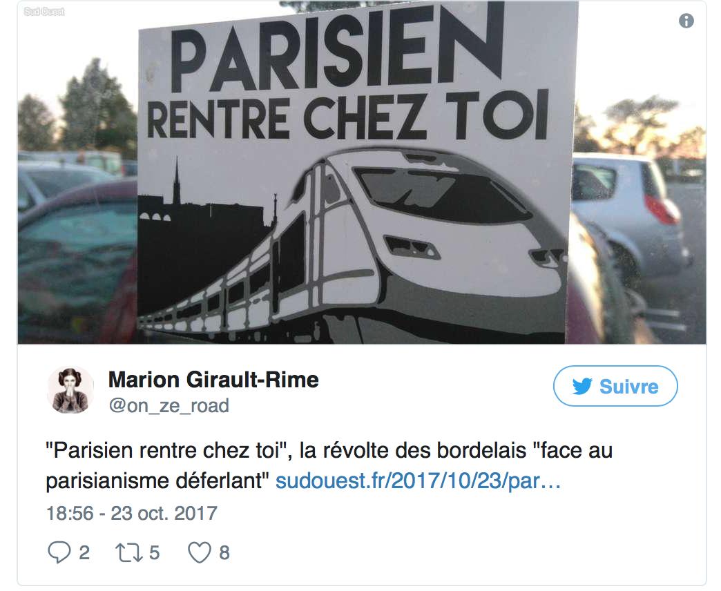 «Parisien, rentre chez toi !» le bobo bordelais ne veut que des clandestins chez lui