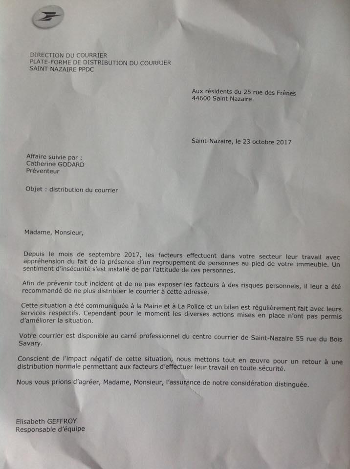 Facteur agressé à Saint-Nazaire : la poste ne distribue plus le courrier au 25 rue des frênes !