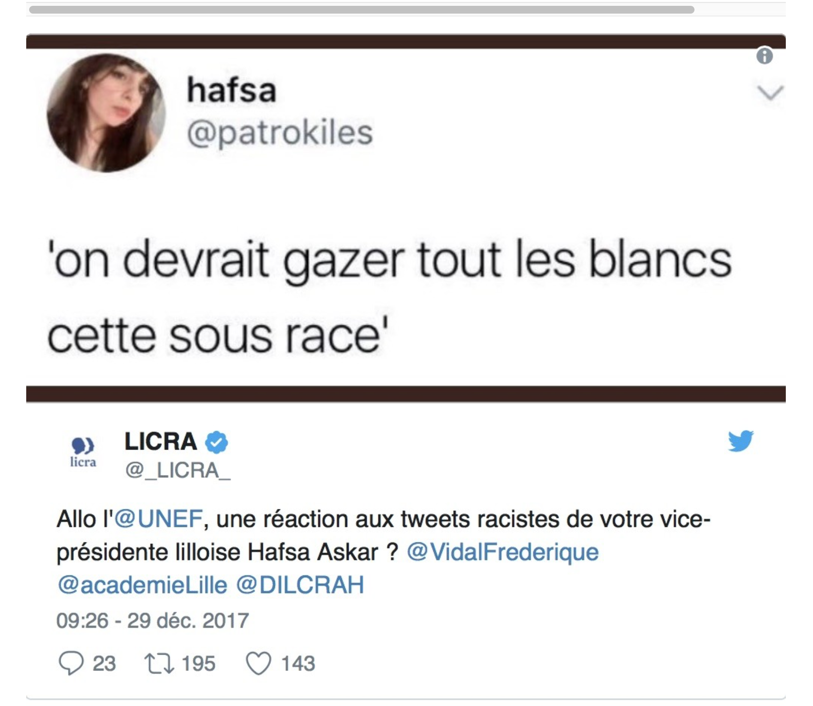 Hafsa Askar de l'UNEF : «on devrait gazer tous les Blancs, cette sous-race»