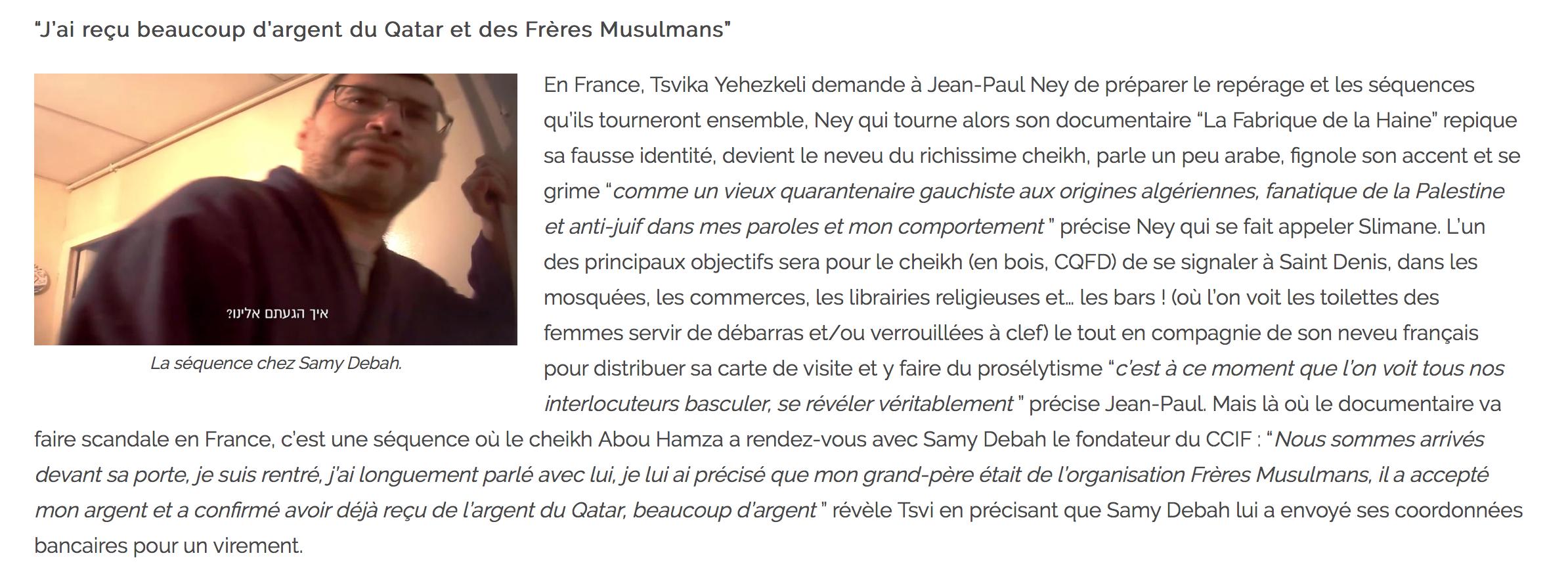 Samy Debah, fondateur du CCIF : j'ai reçu beaucoup d'argent du Qatar et des Frères musulmans