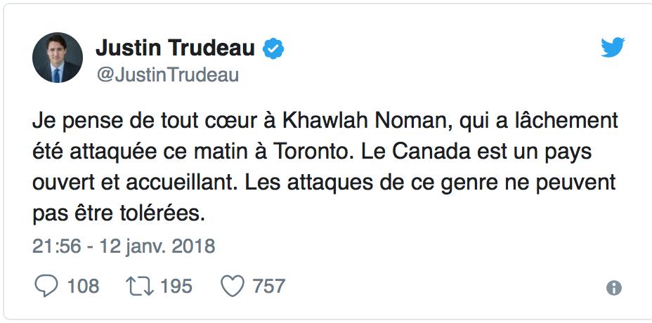 Trudeau pleurnichait sur la gamine voilée «agressée» : elle avait tout inventé