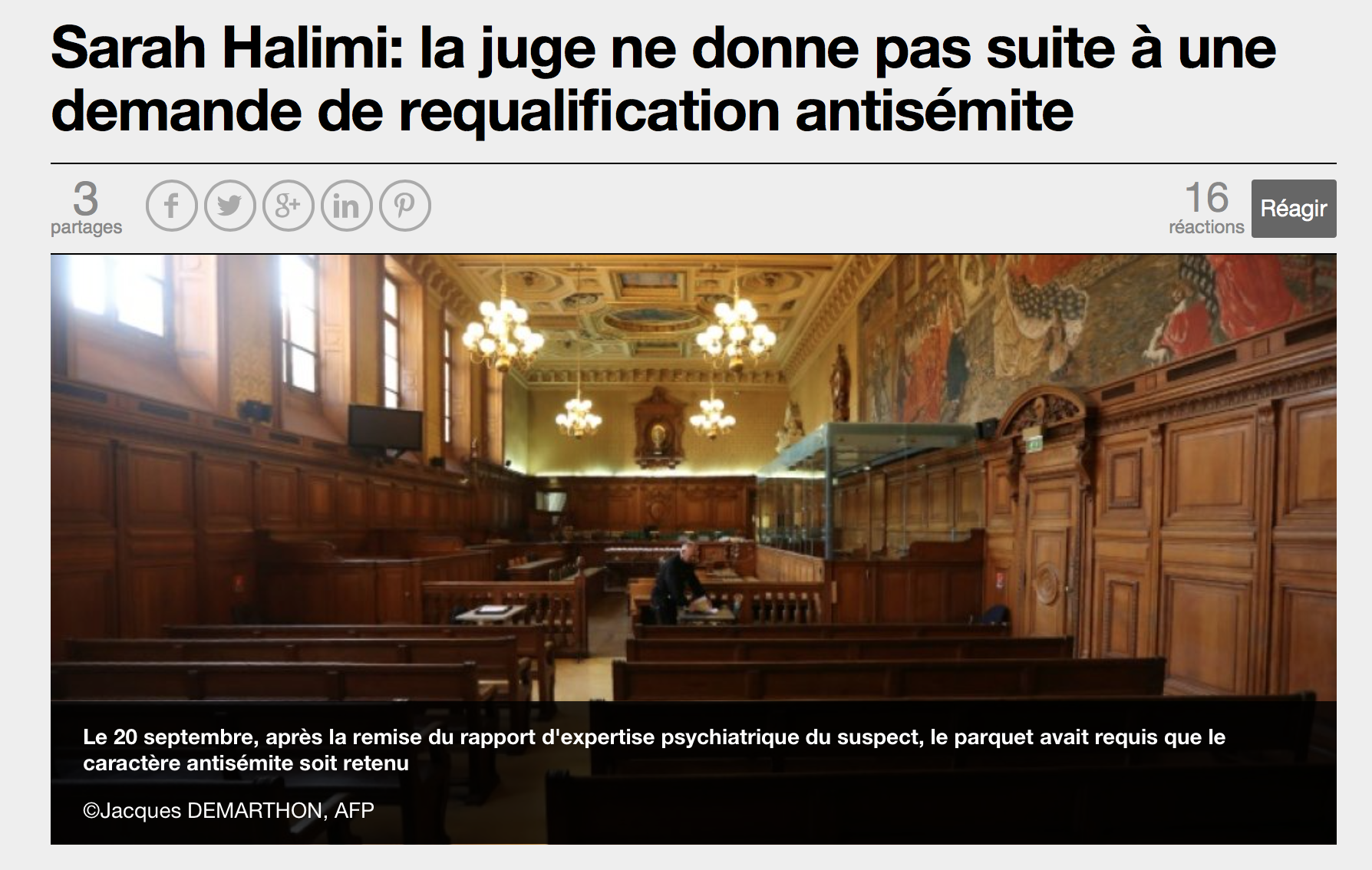 Scandale de l'affaire Sarah Halimi : le juge refuse la qualification antisémite