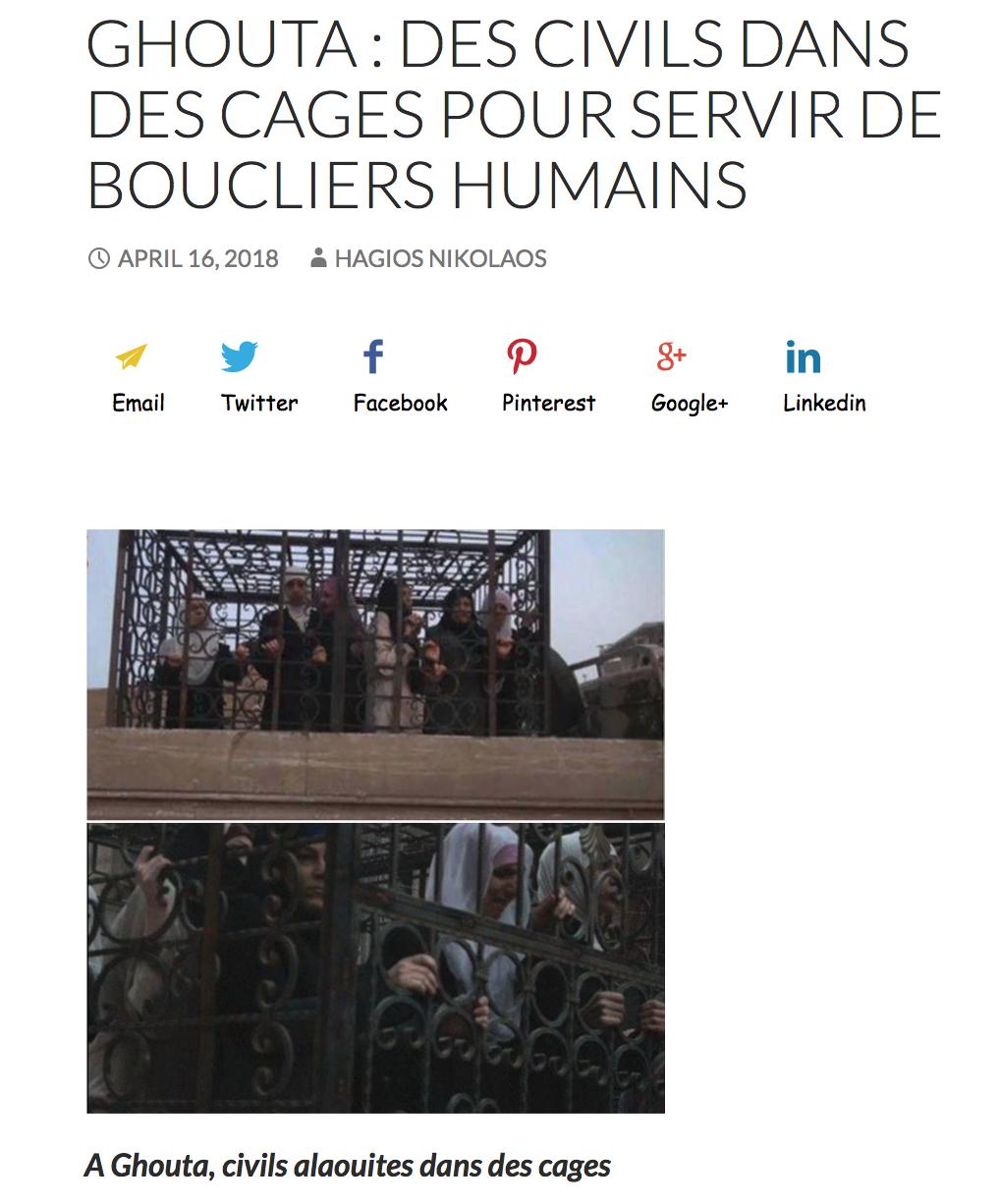 Macron soutient les terroristes qui mettent des Alaouites dans des cages comme boucliers humains !